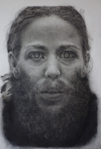 Charcoal portrait of my sister with a large beard